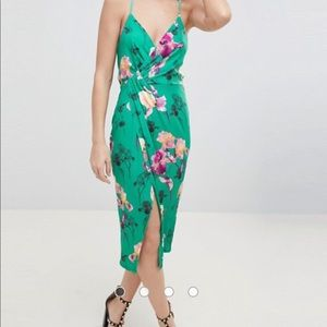 ASOS DESIGN slinky floral cami drape midi dress
